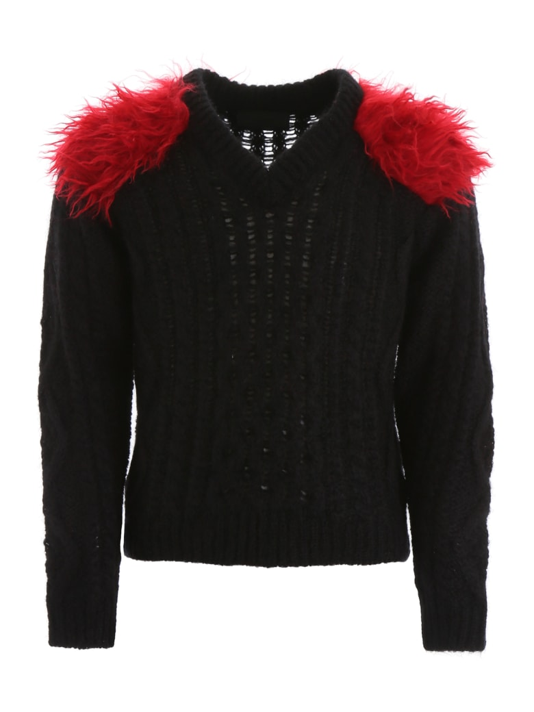 Prada Pullover With Faux Fur - NERO CERISE (Black)