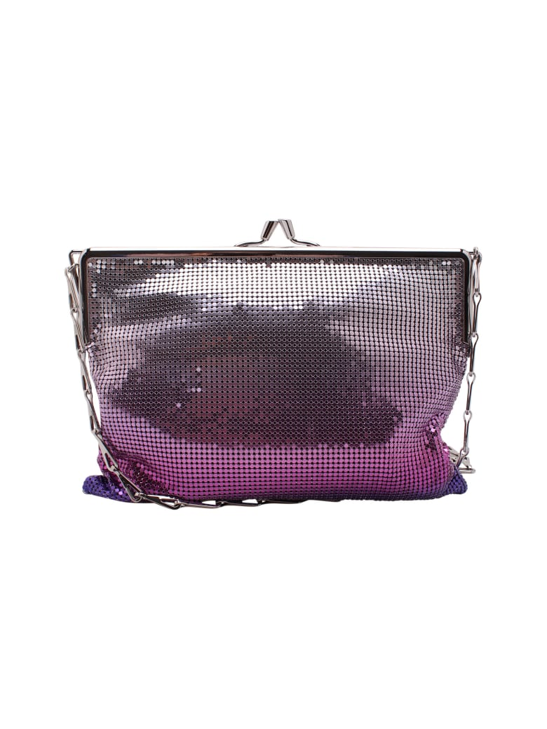 Paco Rabanne 'pixel Ii' Metallic Shoulder Bags - Purple Silver