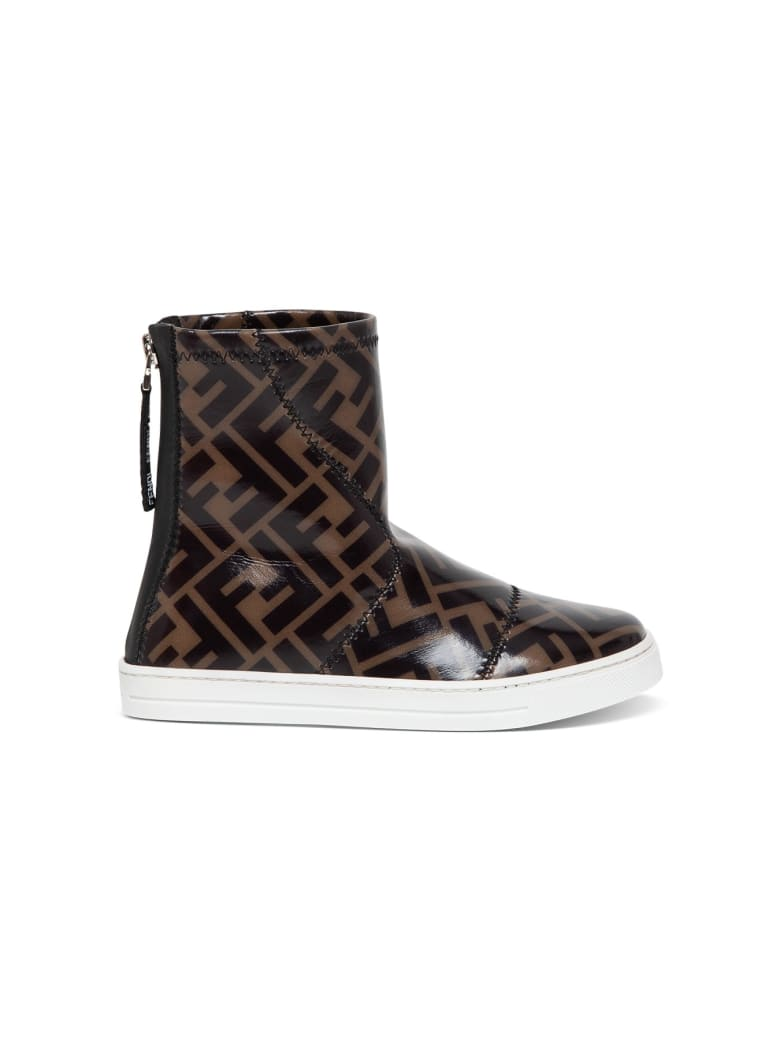 Fendi Junior Ankle Boot In Ff Patent Leather - Black