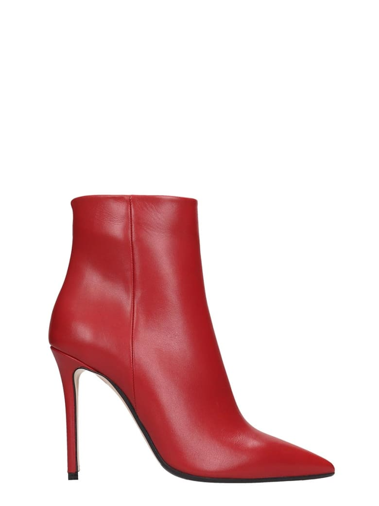 The Seller High Heels Ankle Boots In Red Leather - red
