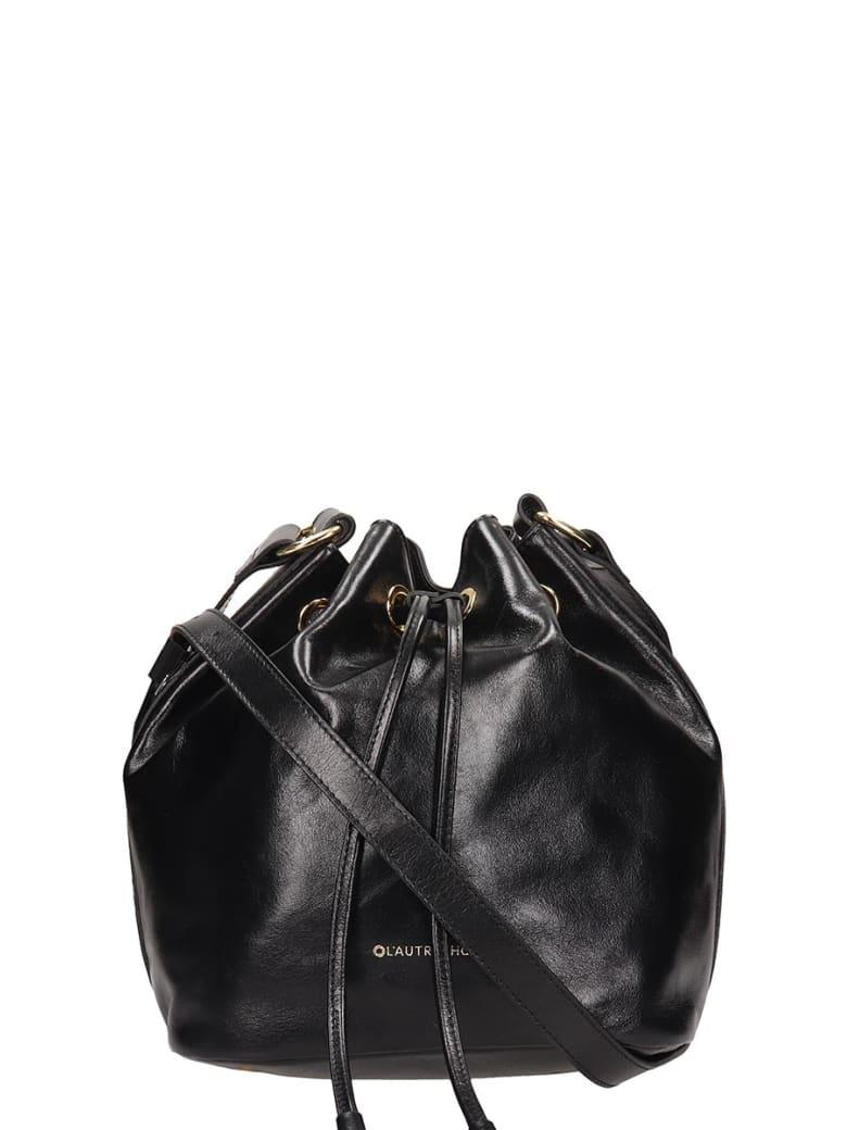 L'Autre Chose Black Leather Bucket Bag - black