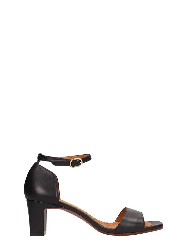 Chie Mihara Black Leather Lusaka Sandals - black