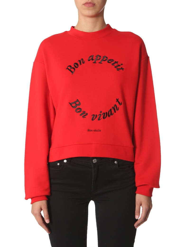 Etre Cecile Sweatshirt With Bon Apetit Embroidery - ROSSO