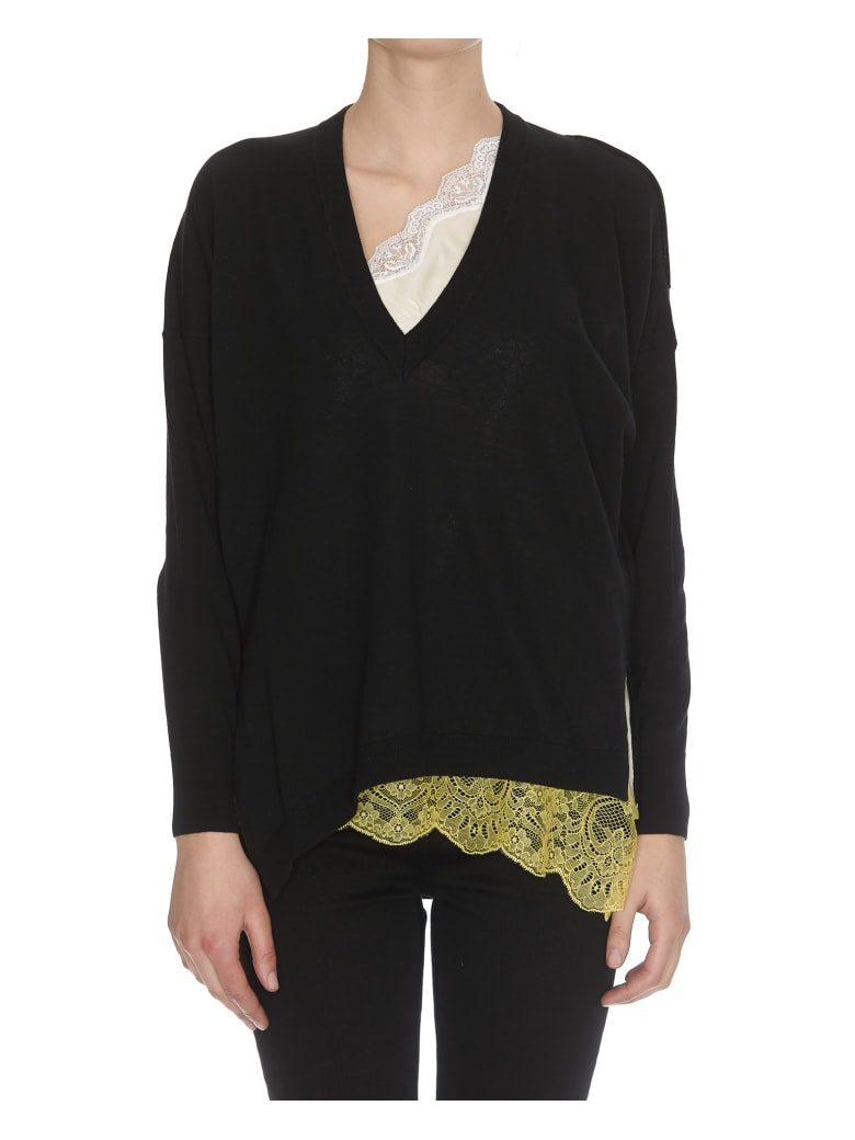 (nude) Lace Details Sweater - Black