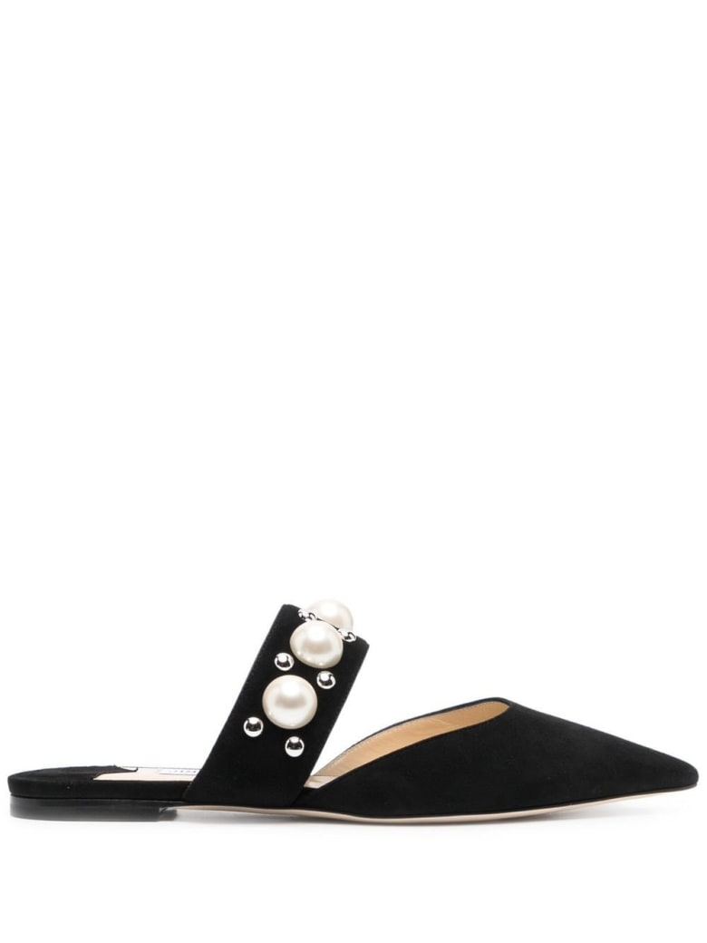 Jimmy Choo Bassette Suede Mules With Pearl Insert - Black
