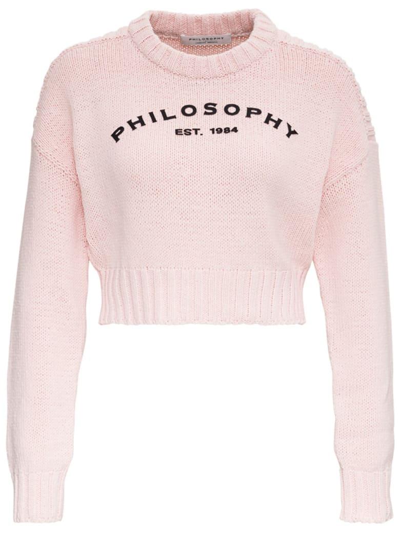Philosophy di Lorenzo Serafini Cotton Blend Short Sweater With Logo - Pink