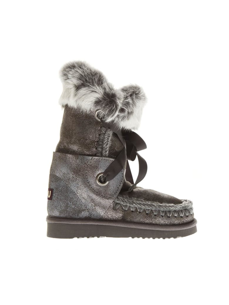 Mou Eskimo Grey Laced Up Leather Boots - Grey