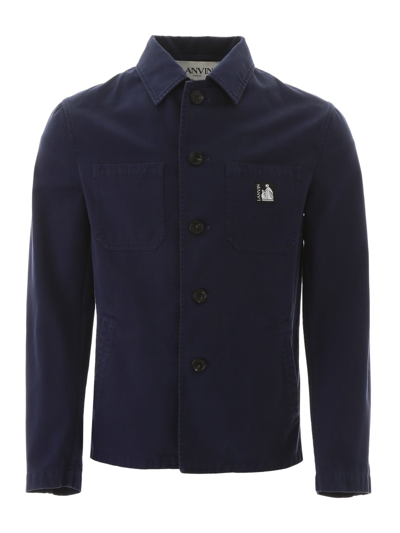Lanvin Jacket With Logo Patch - NAVY BLUE (Blue)