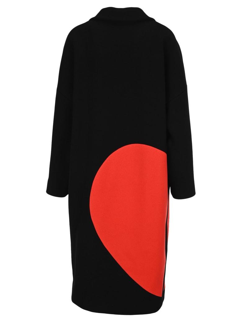 MSGM Broken Heart Coat - BLACK RED HEART