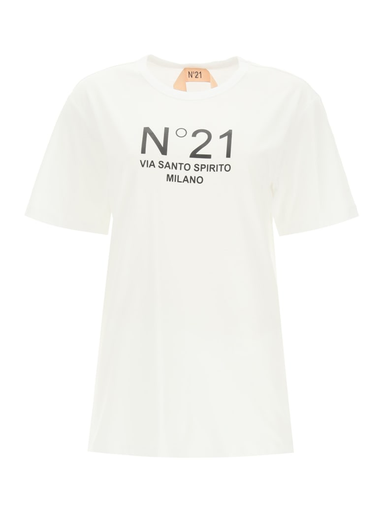 N.21 Oversized T-shirt With Logo Print - BIANCO OTTICO (White)