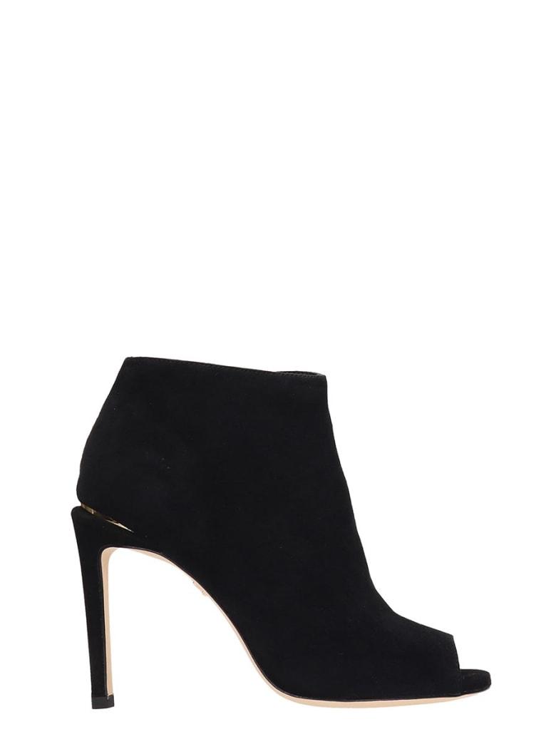 Lola Cruz Open Toe Black Suede Ankle Boots - black