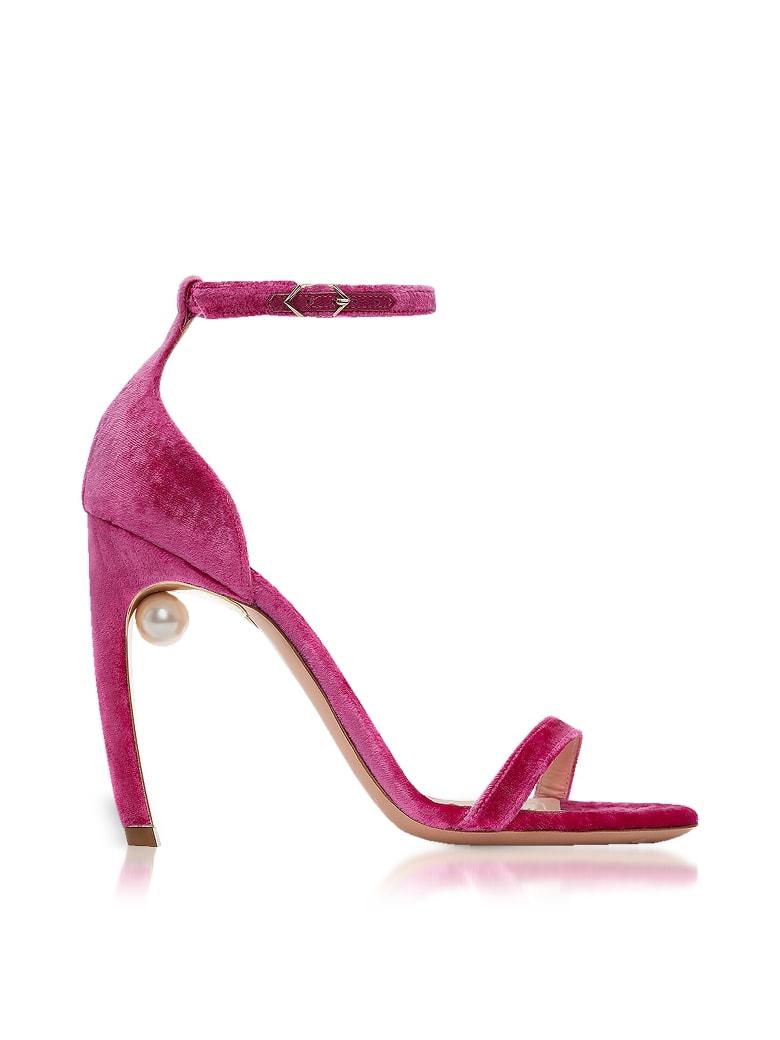 Nicholas Kirkwood Fuchsia Velvet 105mm Mira Pearl Sandals - Pink