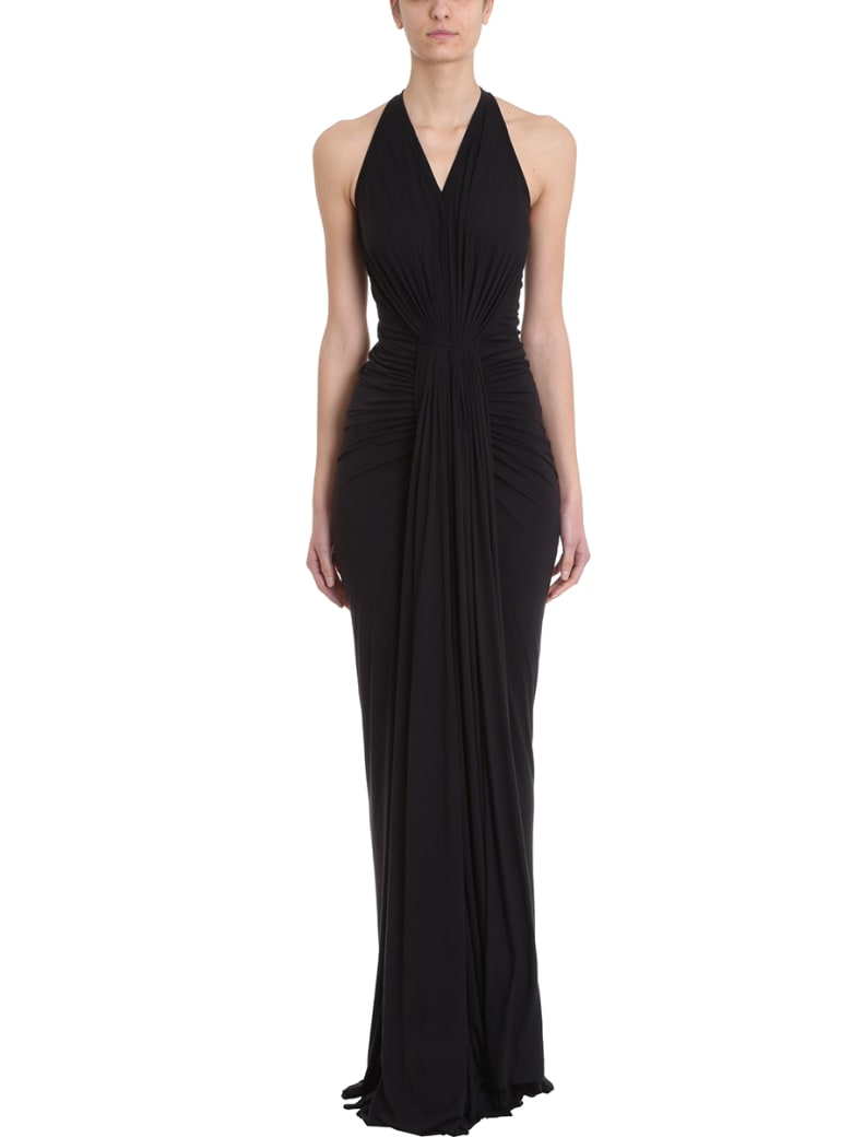 Rick Owens Lilies Gown Draped Jersey Dress - black