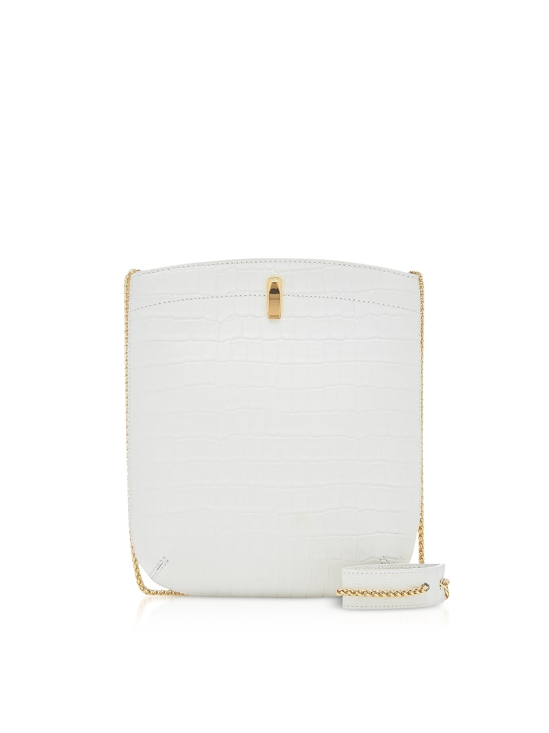 the VOLON E.z. Carry Croco-embossed Leather Bag - White