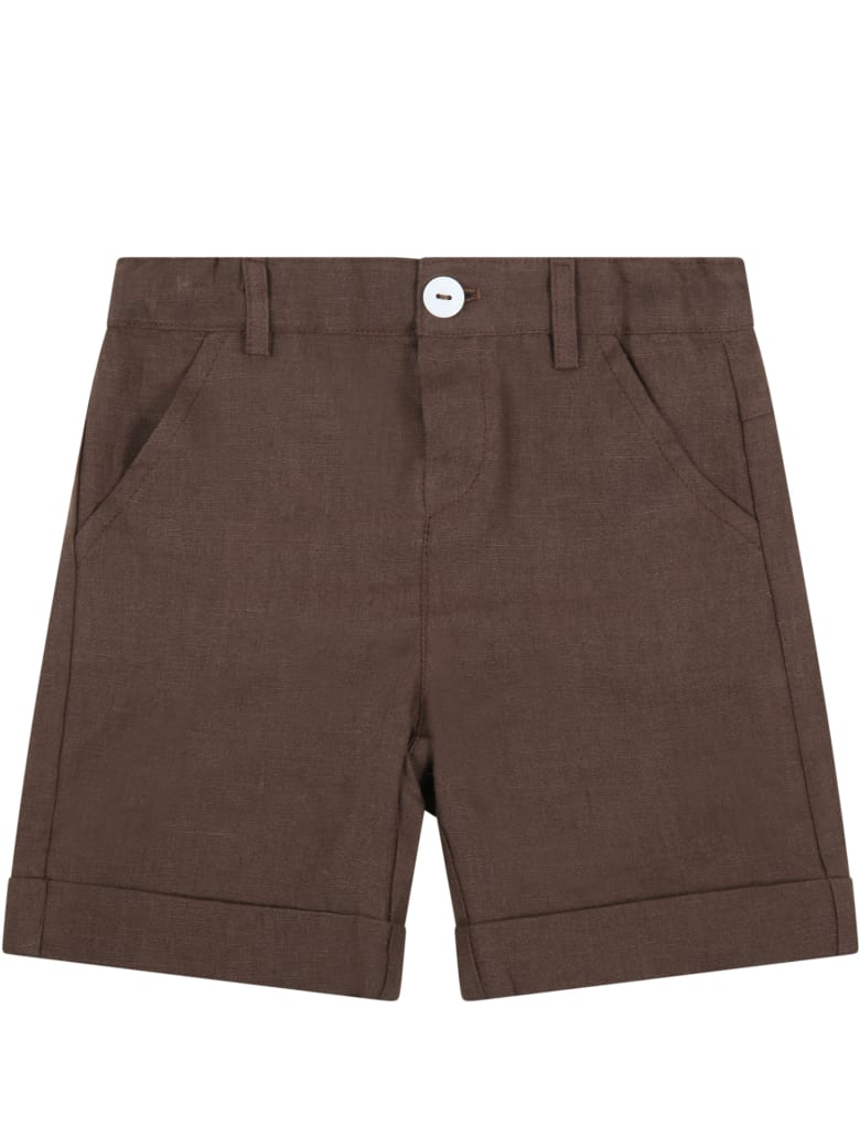 Little Bear Brown Shorts For Babyboy - Brown