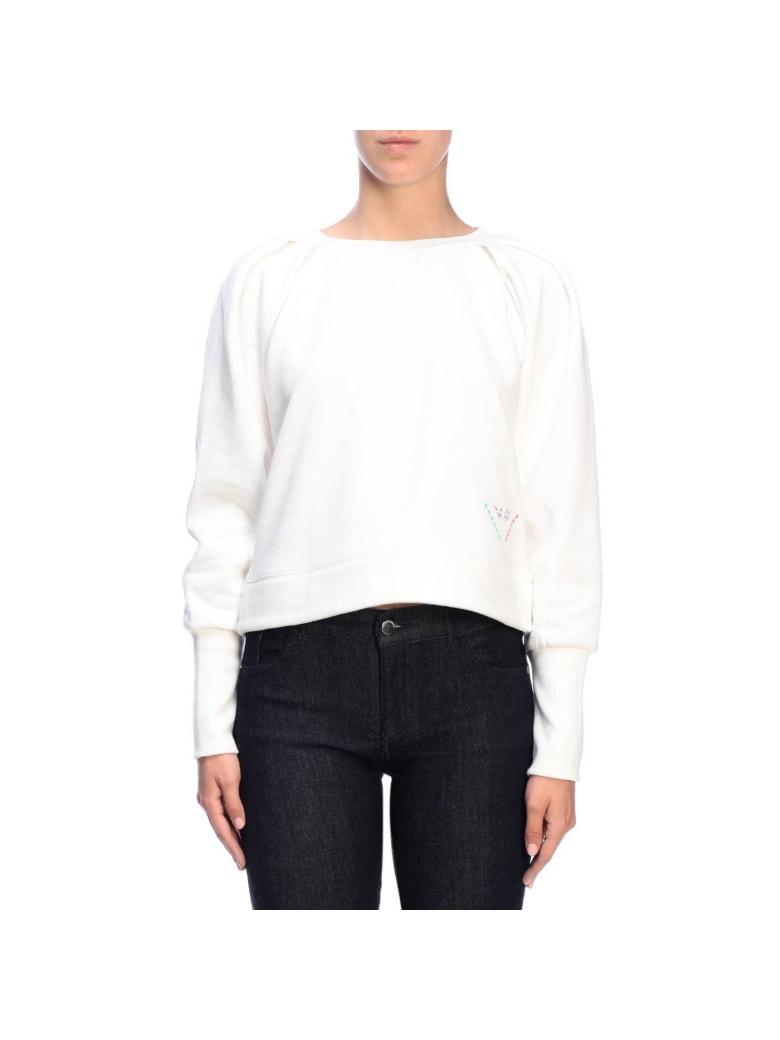 Emporio Armani Sweater Emporio Armani Crewneck Sweatshirt With Maxi Back Logo - white
