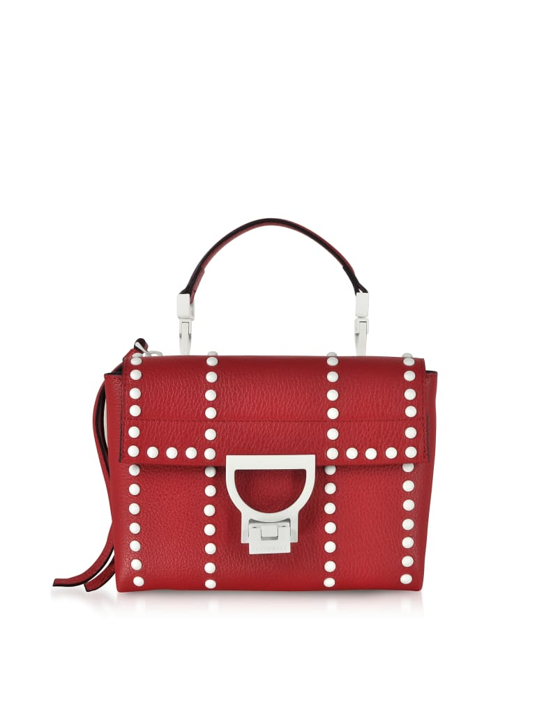 Coccinelle Arlettis Mini Special Studs Leather Shoulder Bag - Poppy Red