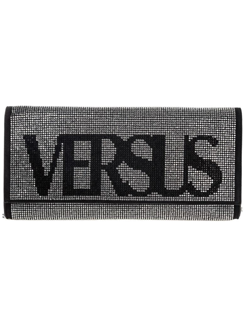 Versus Versace  Leather Clutch With Shoulder Strap Handbag Bag Purse Vintage Logo - Nero