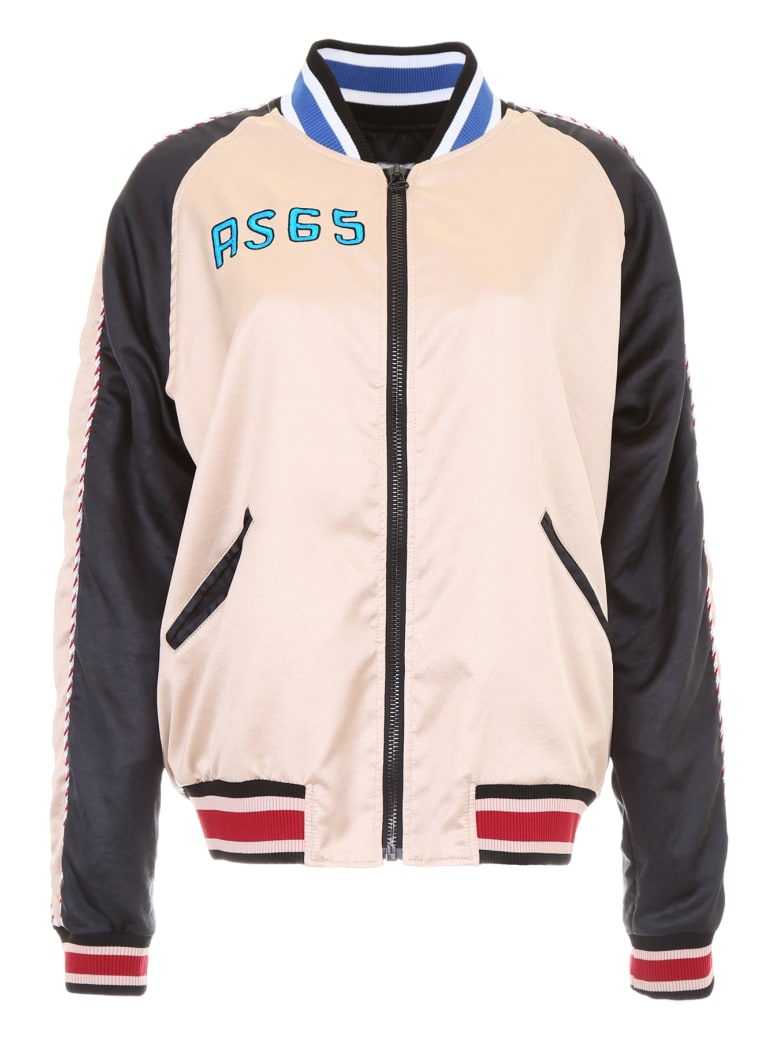 AS65 Satin Bomber Jacket With Flamingo - NUDE BLACK (Pink)