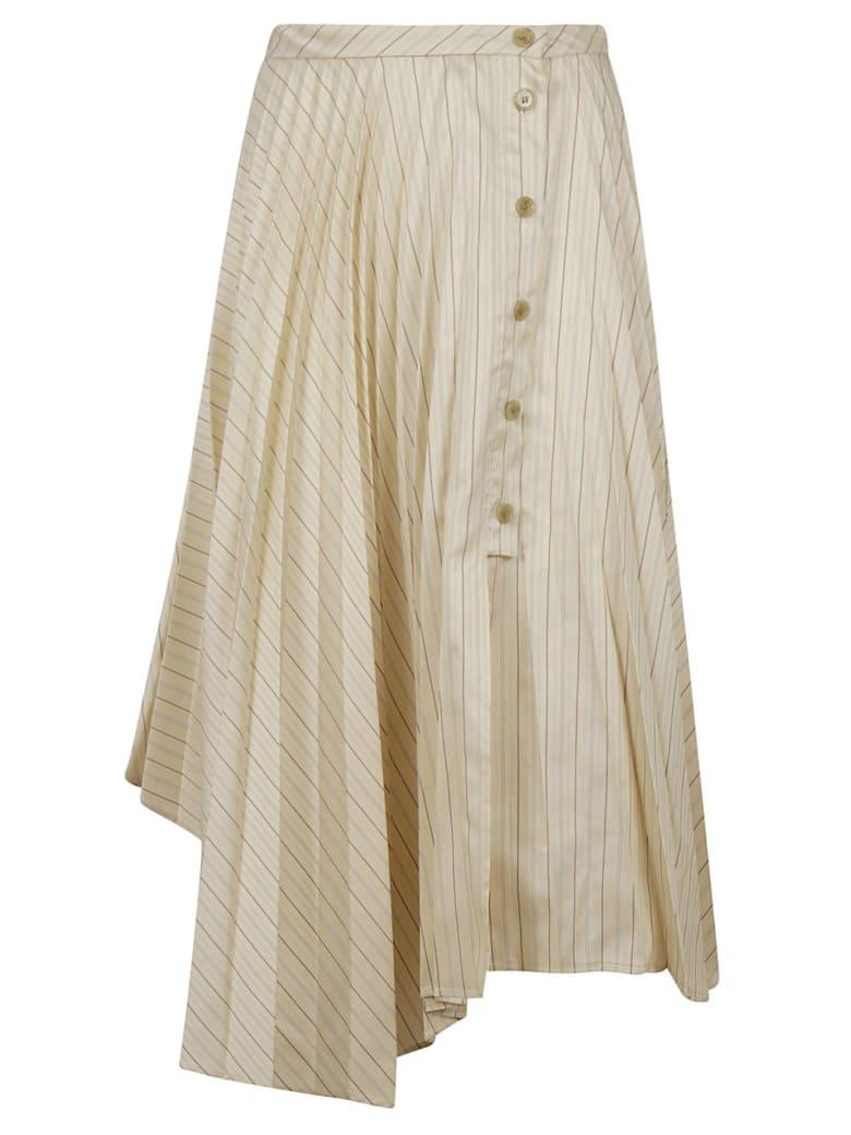 Acne Studios Asymmetric Striped Skirt - Cream