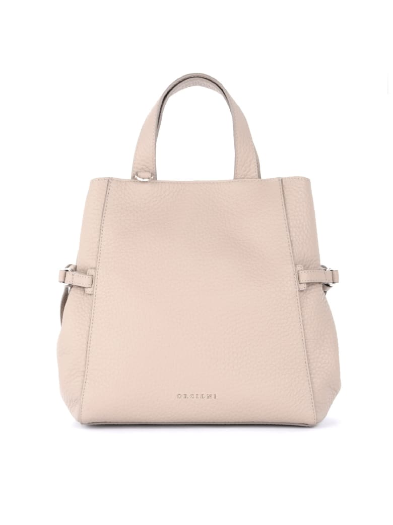 Orciani Shoulder Bag In Dove Gray Grained Leather - BEIGE