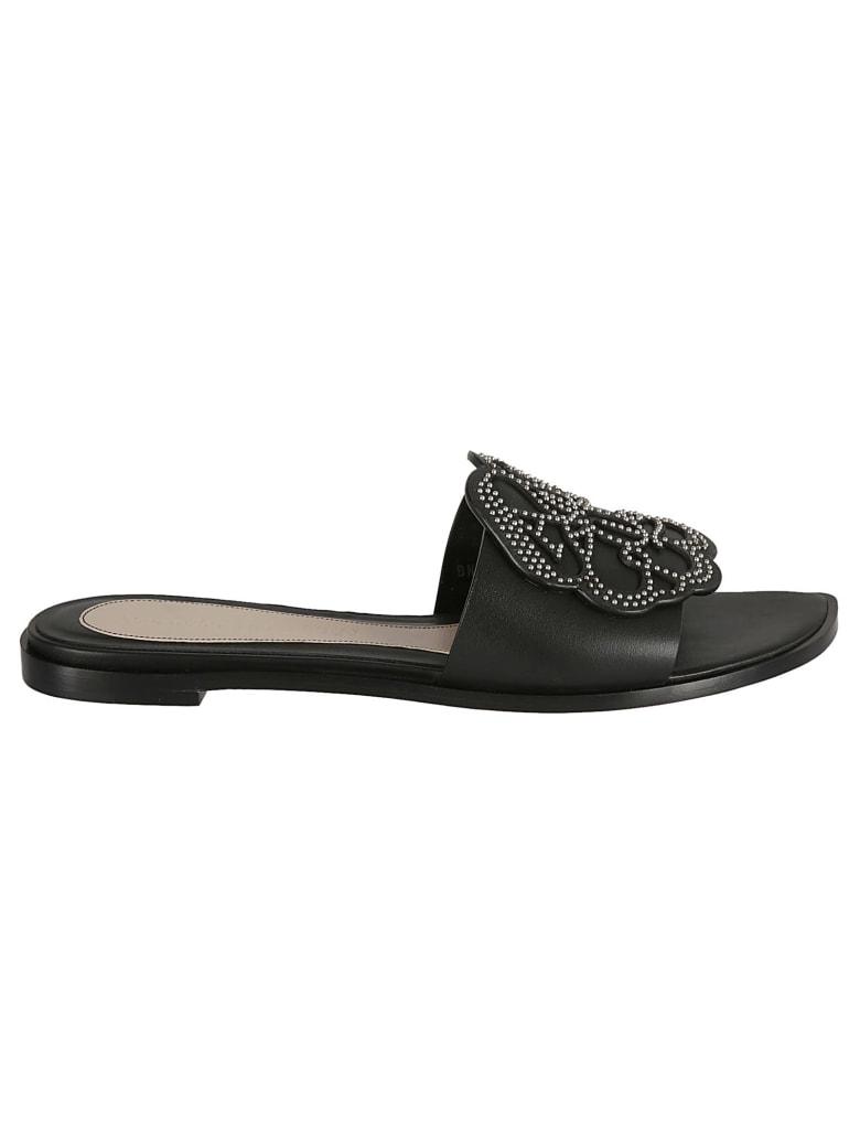 Alexander McQueen Studded Flat Sandals - Black/Silver