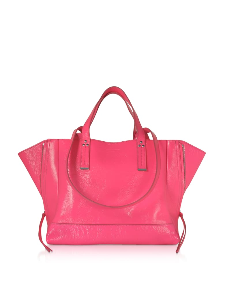 Jerome Dreyfuss Georges M Croco Fuchsia Glossy Leather Tote Bag - Fuchsia