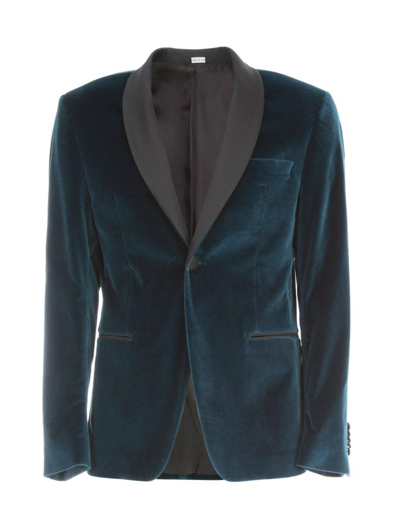 Emanuel Ungaro Velvet Smoking Jacket W/scialle Neck - Cobalt