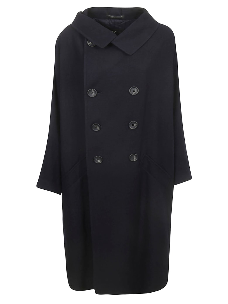 Y's Double Breasted Coat - Navy