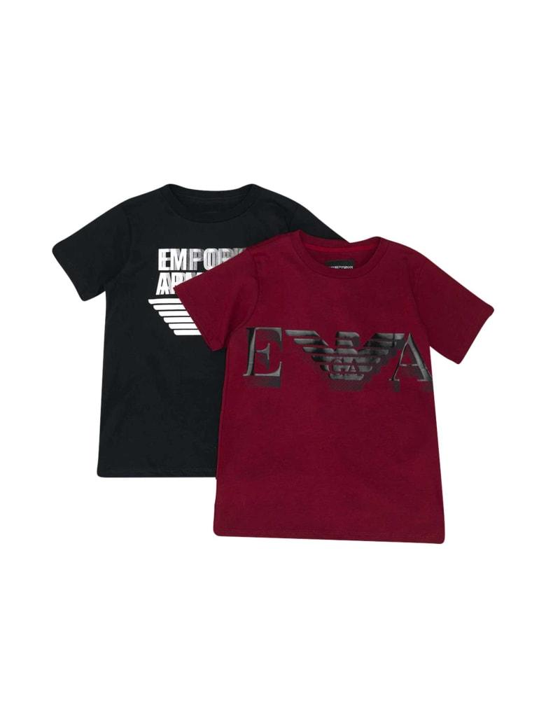 Emporio Armani Pair Of Teen T-shirts - Nero rosso