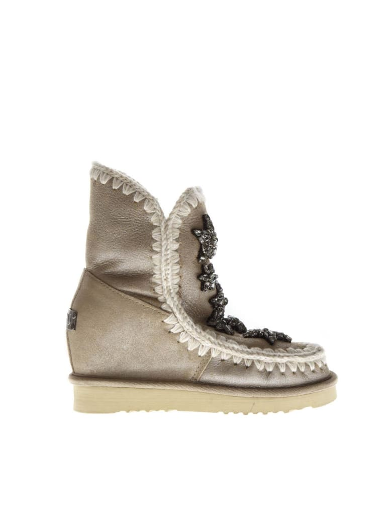Mou Stars Stone Suede Boots - Stone metallic