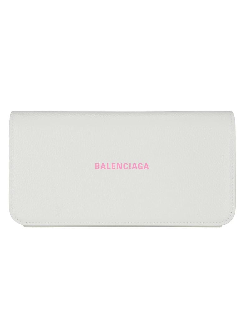 Balenciaga Wallet - White/l fluo pink