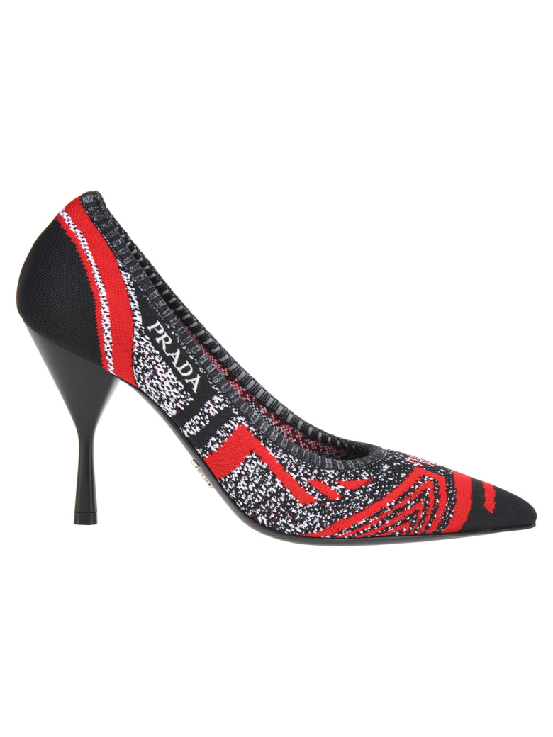 Prada Prada Knit Fabric Pumps - BLACK + RED