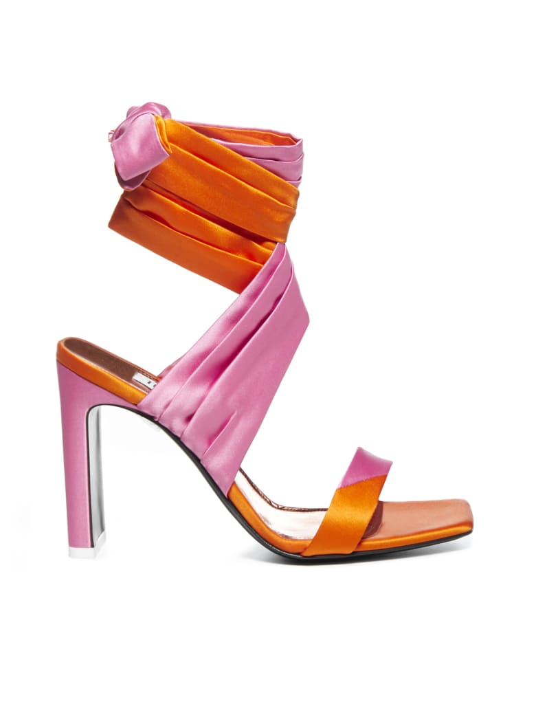 The Attico Lace Up Sandals - Orange pink