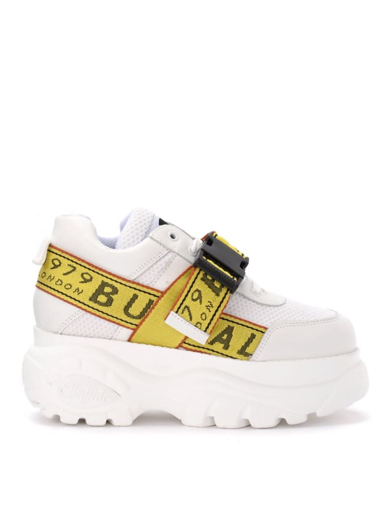 Buffalo Galip Sneaker In White Leather With Platform - BIANCO