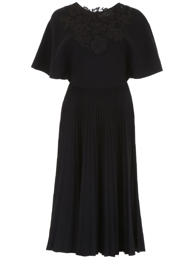 Valentino Pleated Jersey Dress - NERO (Black)