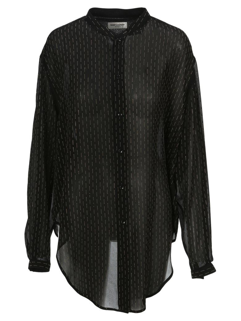 Saint Laurent Oversized Tie-up Shirt With Studs - BLACK GOLD
