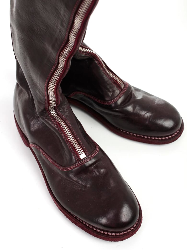 Guidi Front Zip Army Boots - T Burgundy