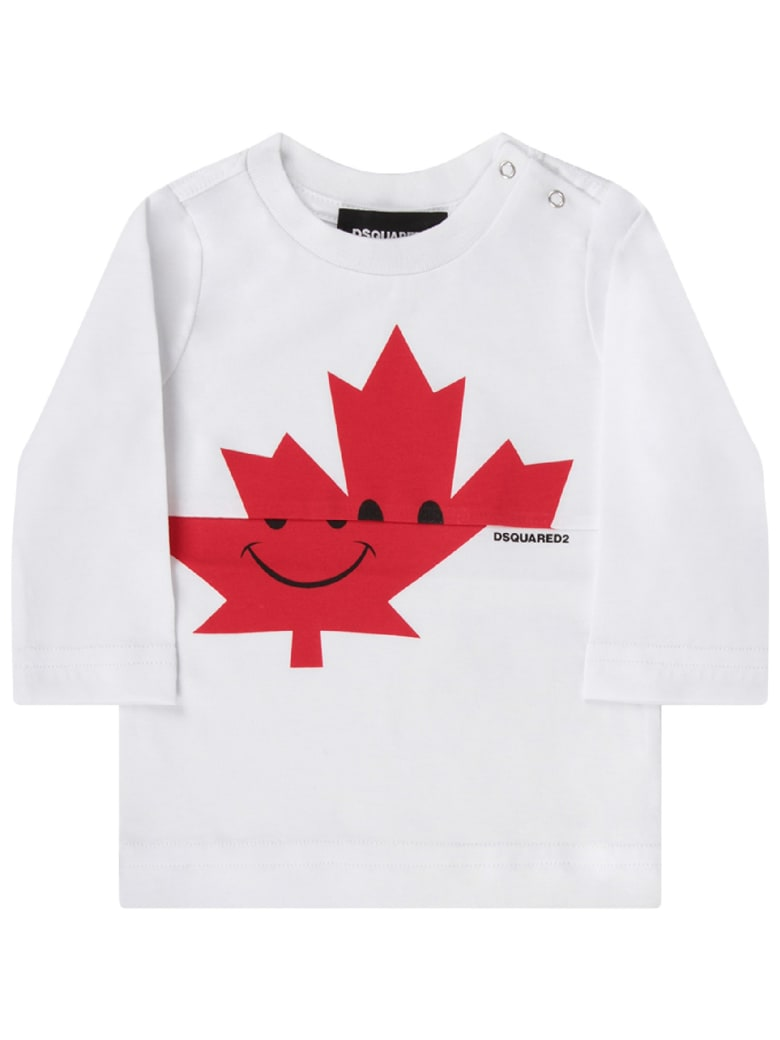 Dsquared2 White Babyboy T-shirt With Red Leaf And Logo - White