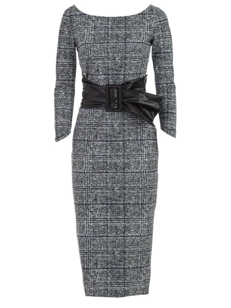 La Petit Robe Di Chiara Boni Dress Boat Neck Galles W/faux Leather Belt - Tweed