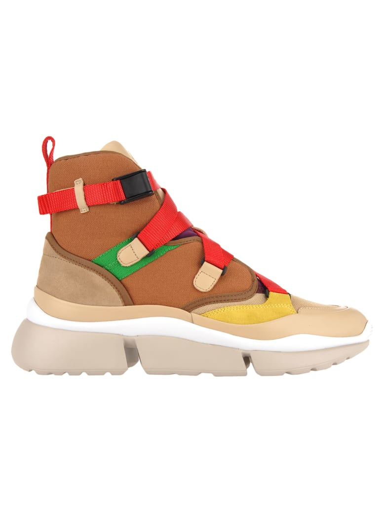 Chloé Chloe' High Top Sneakers - BEIGE RED