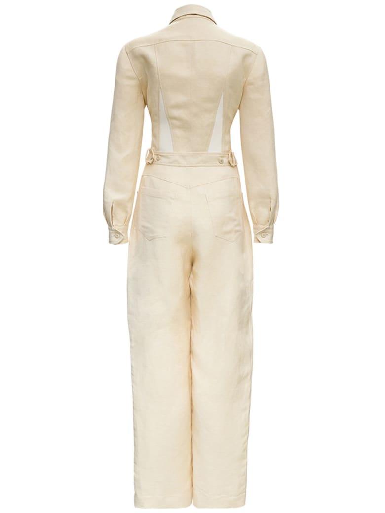 Alberta Ferretti Linen Suit In Ivory Colored - White