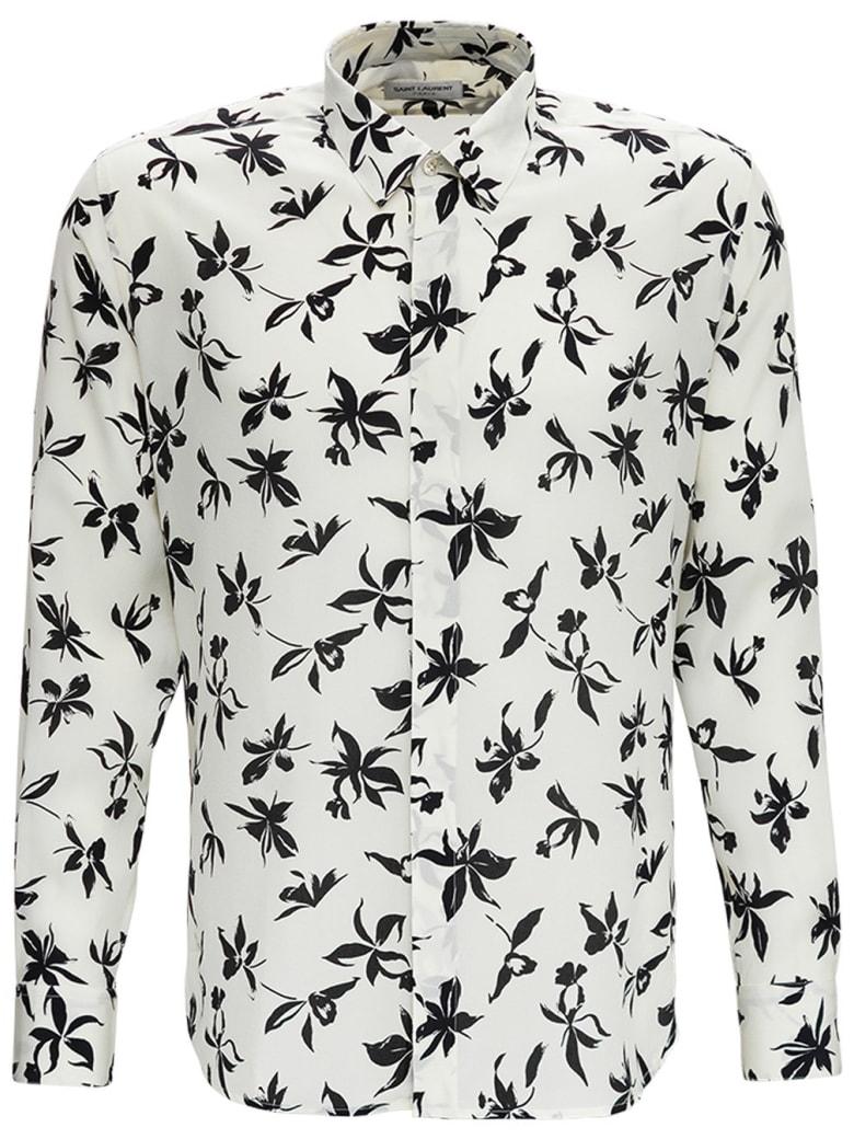 Saint Laurent Camicia In Seta Crepe De Chine Con Stampa Orchidea Selvatica - White