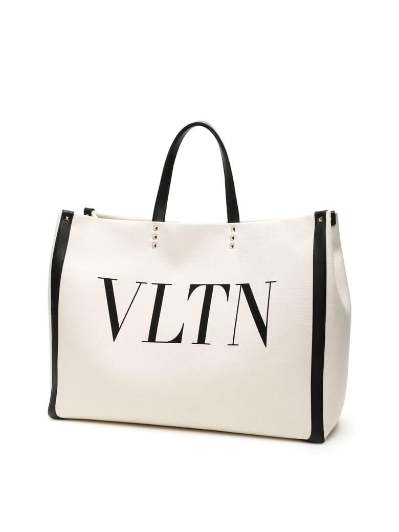 Valentino Garavani Large Vltn Tote Bag - NATURALE NERO (Beige)