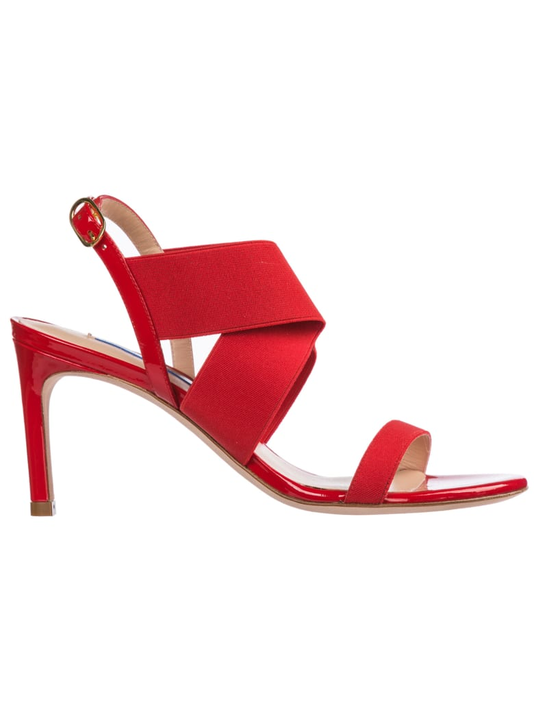 Stuart Weitzman  Leather Heel Sandals Alana - Followme / Red patent