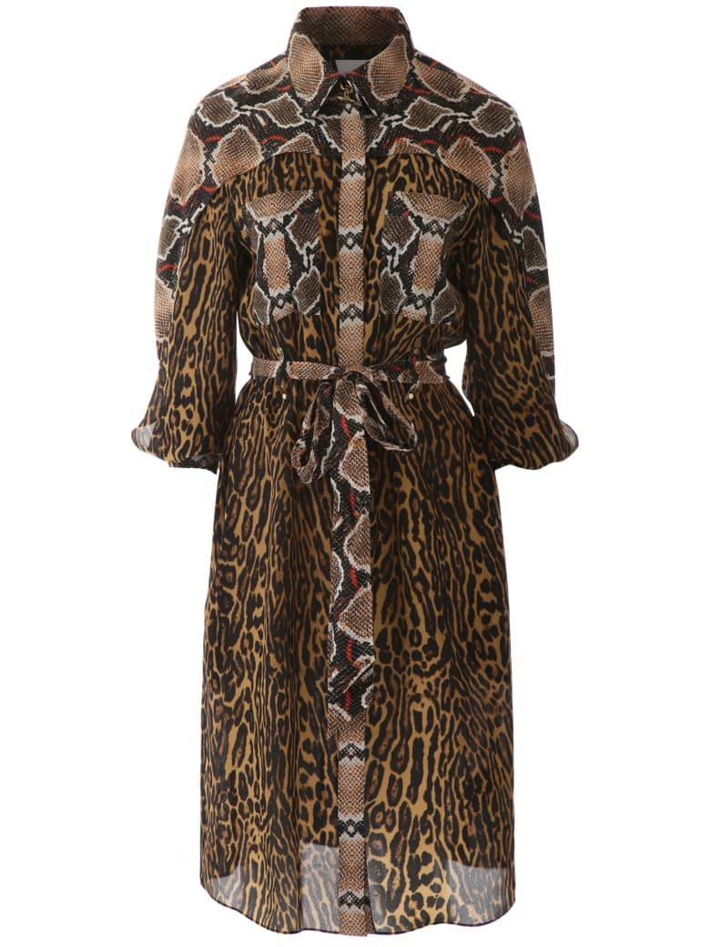 Burberry Animalier Costanza Dress - Marrone