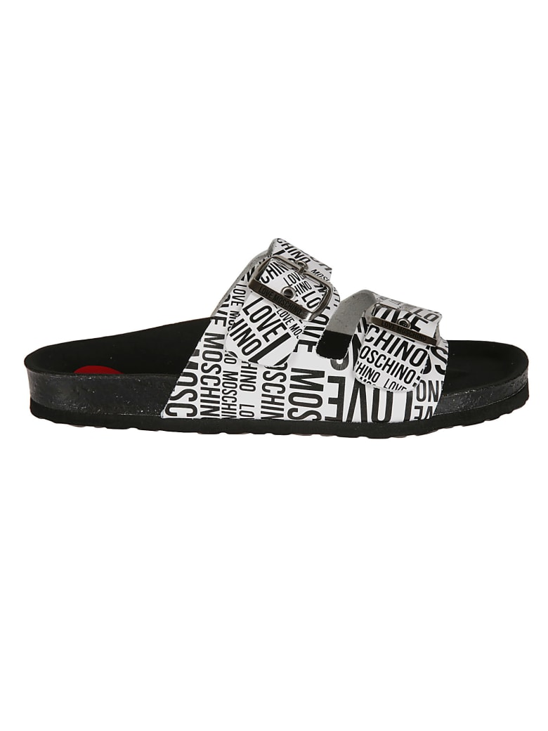 Love Moschino Double Buckled Strap Logo Flat Sandals - White