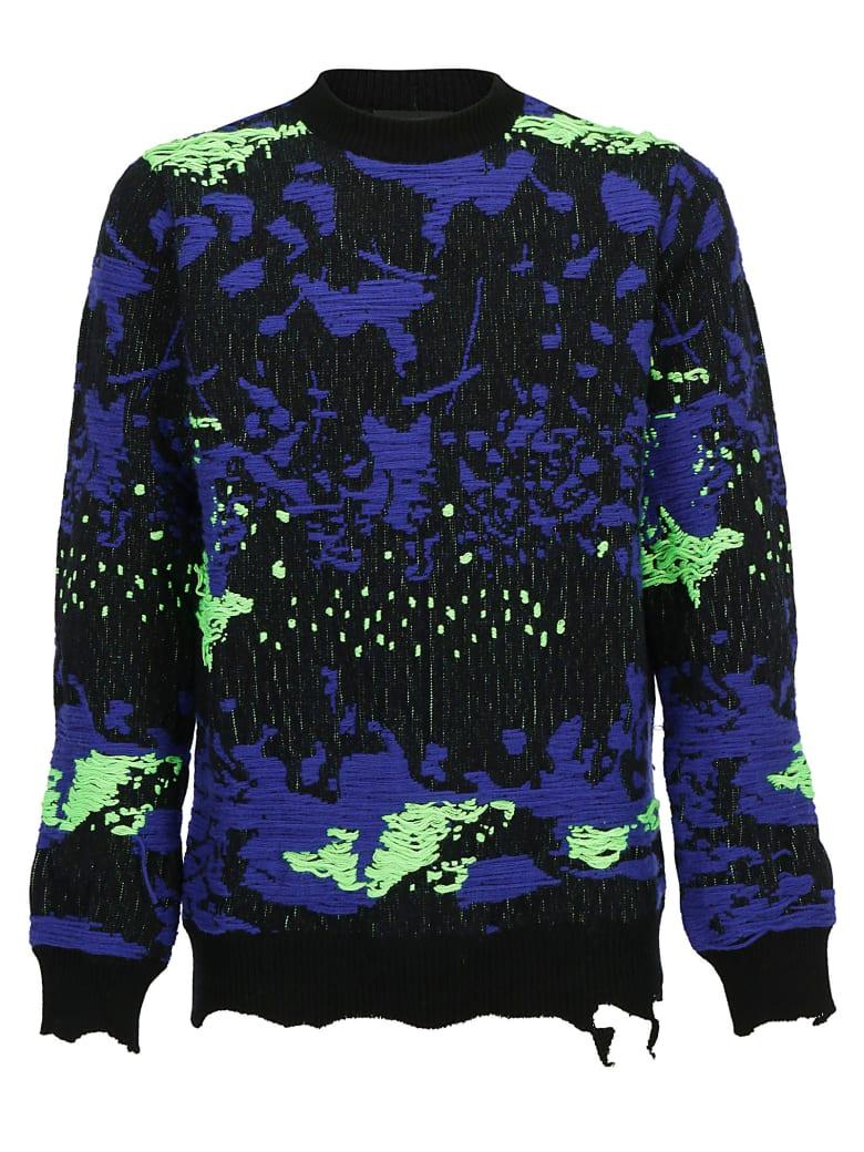 Les Hommes Sweater - Black/cobalto