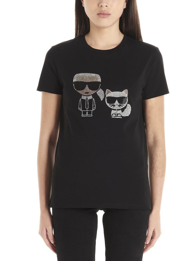 Karl Lagerfeld 'ikonic Karl & Choupette' T-shirt - Black