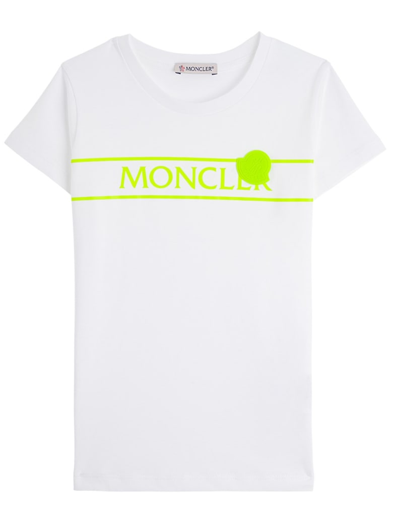 Moncler Jersey T-shirt With Fluo Logo Print